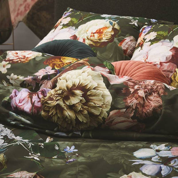 Essenza Fleur dekbedovertrek - 100% katoen-satijn - 1-persoons (140x200/220 cm + 1 sloop) - 1 stuk (60x70 cm) - Groen