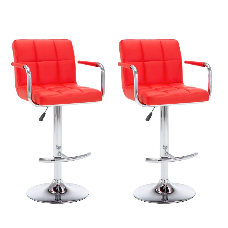 vidaXL Barstoel met armleuningen kunstleer rood 2 st