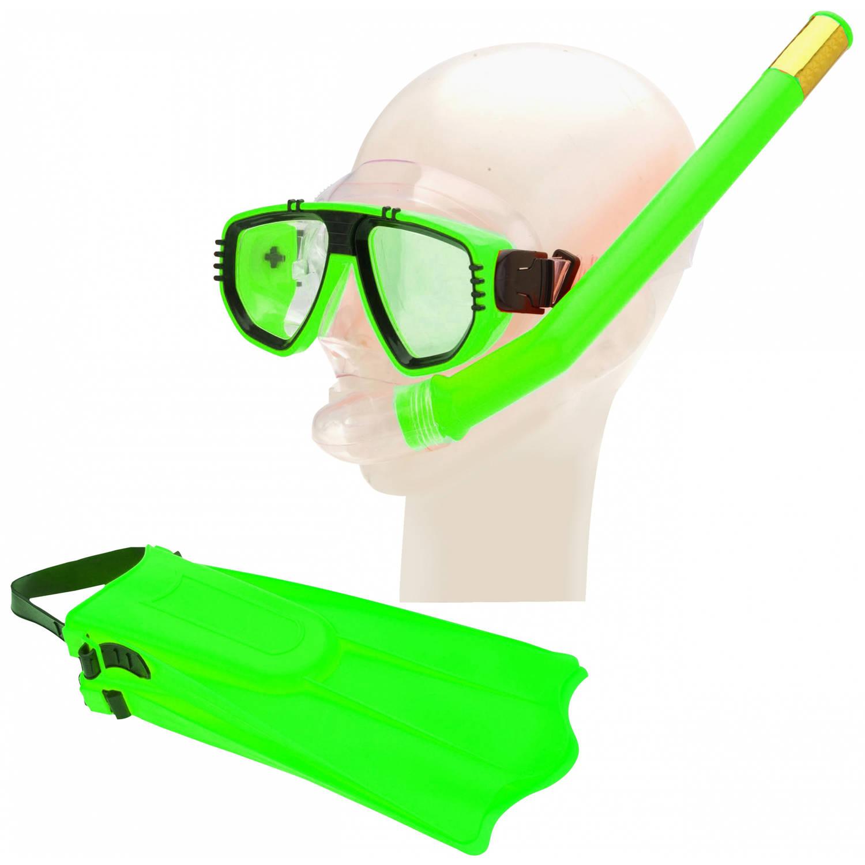 Free and Easy duikbril, vliezen en snorkelset groen junior