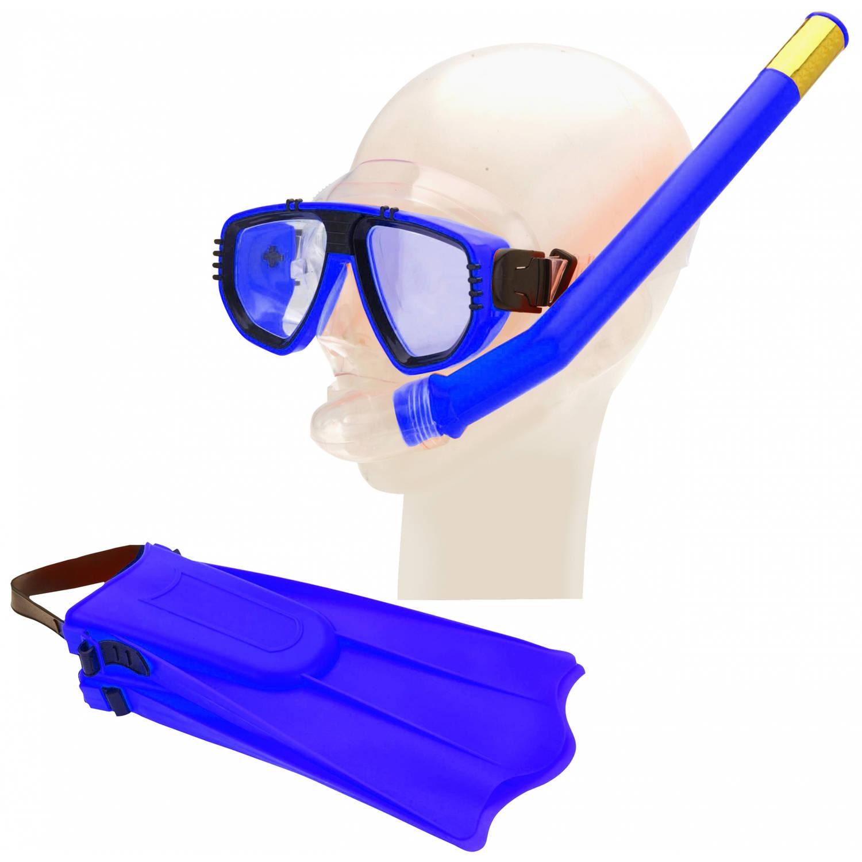 Free and Easy duikbril, vliezen en snorkelset blauw junior