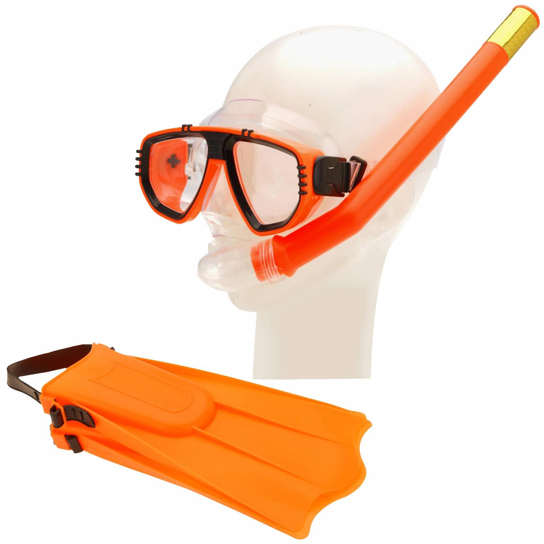 Free and Easy duikbril, vliezen en snorkelset groen oranje