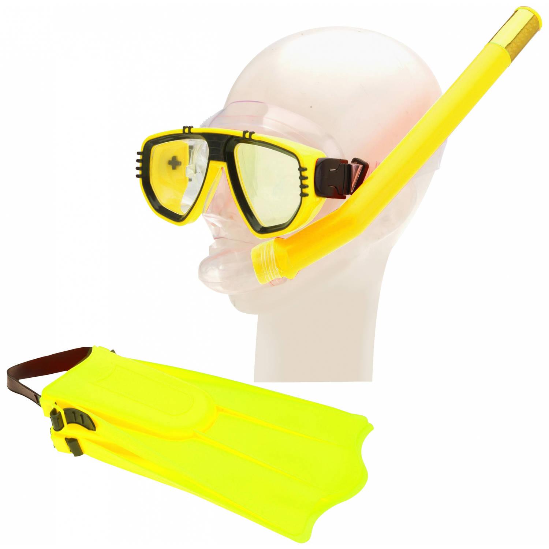 Free and Easy duikbril, vliezen en snorkelset geel junior