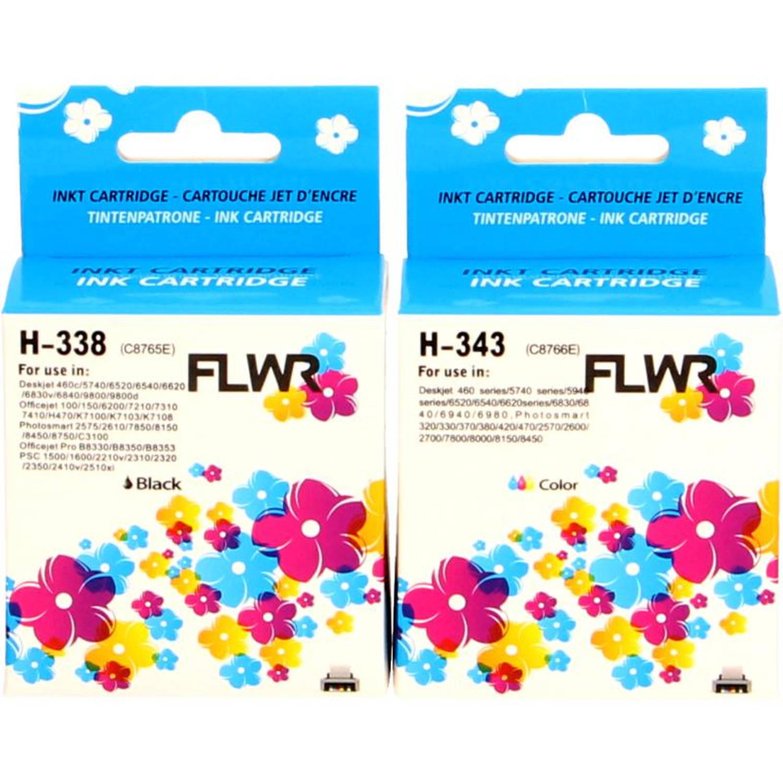 FLWR HP 338 en 343 Multipack zwart en kleur Cartridge