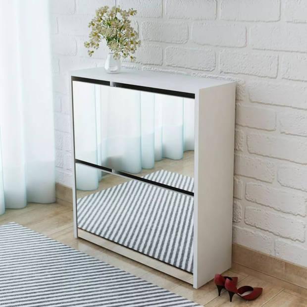 vidaXL Schoenenkast tweelaags met spiegel 63x17x67 cm wit