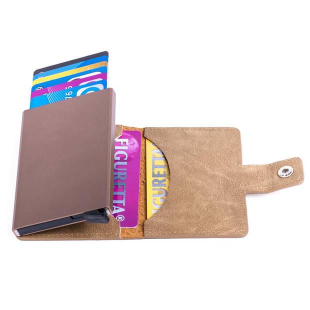 Figuretta Aluminium RFID Cardprotector PU-Leer - Zandbruin