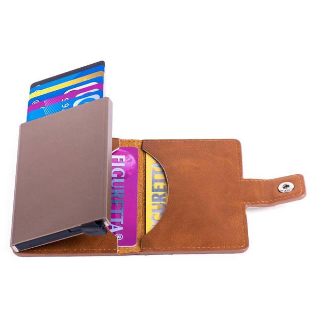 Figuretta Aluminium RFID Cardprotector PU-Leer - Cognac