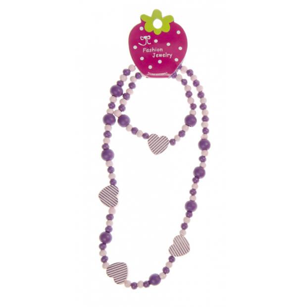 LG-Imports Kralenketting met armband roze,paars 23,5 cm