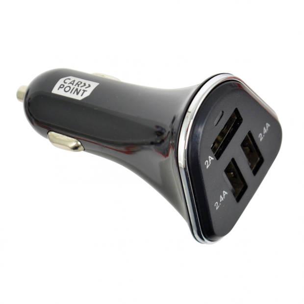 Carpoint autolader USB trippel 12/24V 2/2,4A zwart