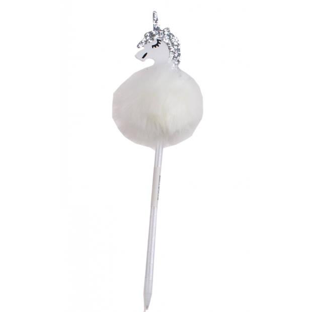 LG-Imports Fluffy balpen met eenhoorn wit 28,5 cm