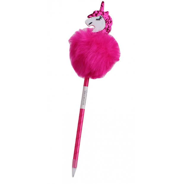 LG-Imports Fluffy balpen met eenhoorn roze 28,5 cm