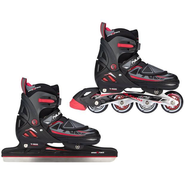 Nijdam schaats/skate-combinatie junior zwart/rood