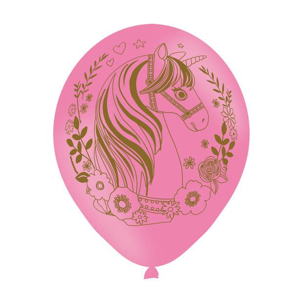 Amscan feestballonnen eenhoorn roze 6 stuks 27,5 cm