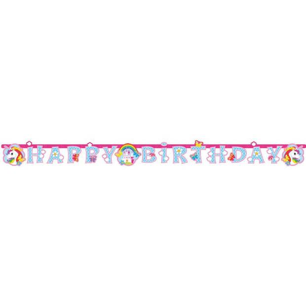 Amscan slinger eenhoorn Happy Birthday 180 x 15 cm papier