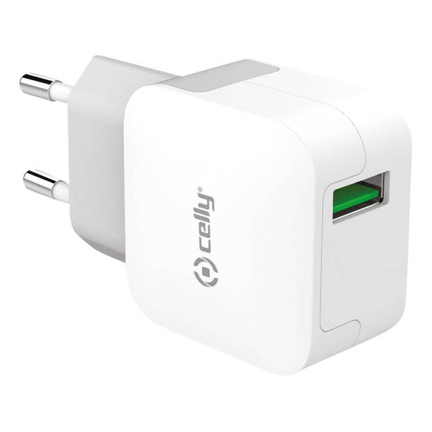 Celly thuislader Turbo Charger single USB 2.4A wit