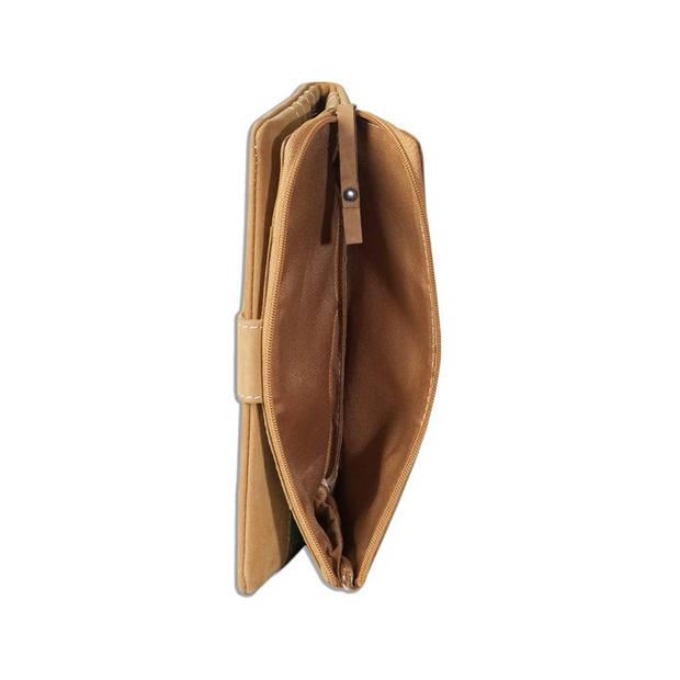 Woodland HK156 Leren Dames Rits Portemonnee voor Mobiel Cognac