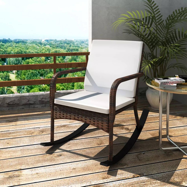 vidaXL Schommelstoel voor in de tuin poly rattan bruin