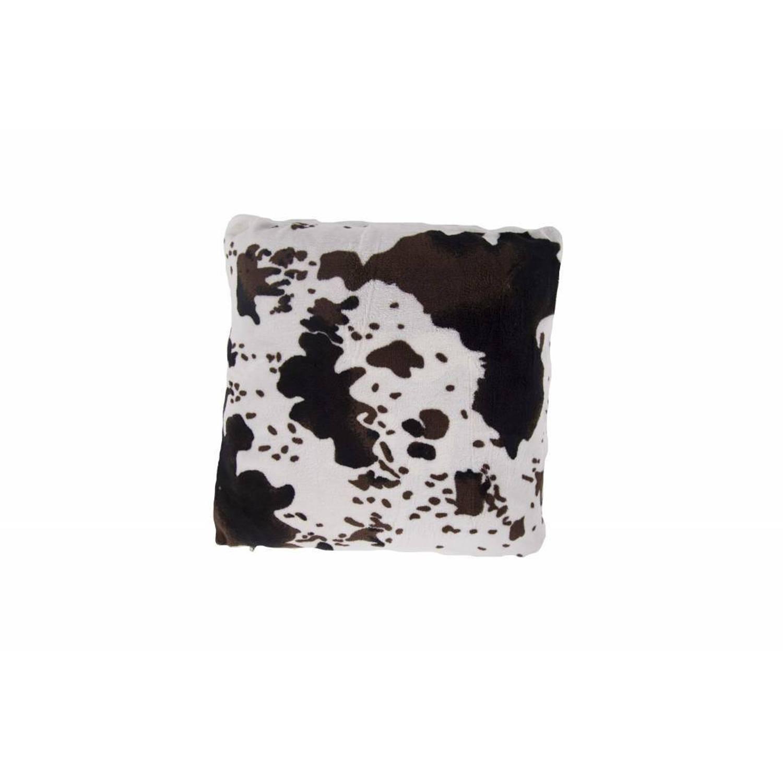 Nightlife Sierkussenhoes Koeienprint met Sherpa