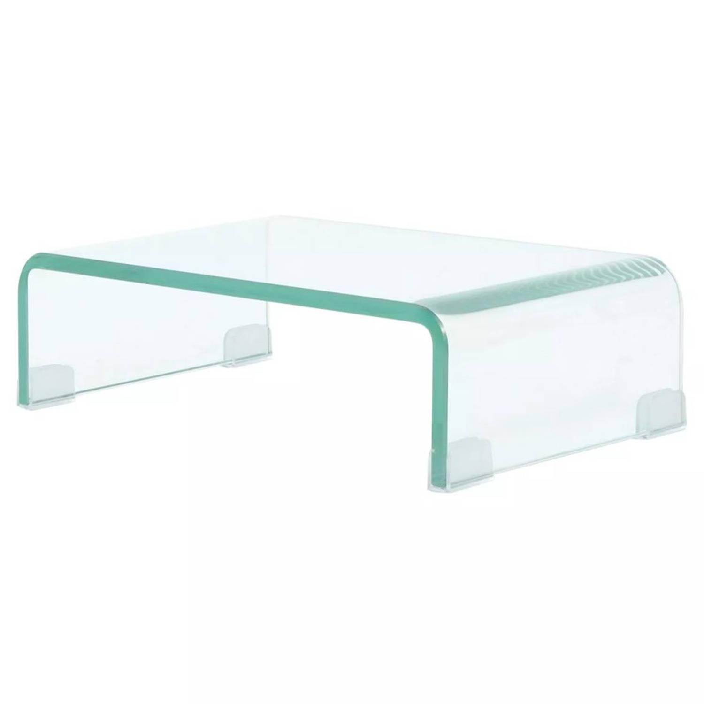 vidaXL Tv-meubel/monitorverhoger transparant 40x25x11 cm glas