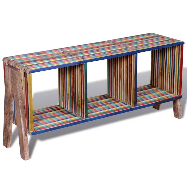 Image of Tv-meubel met 3 vakken kleurrijk gerecycled teak stapelbaar