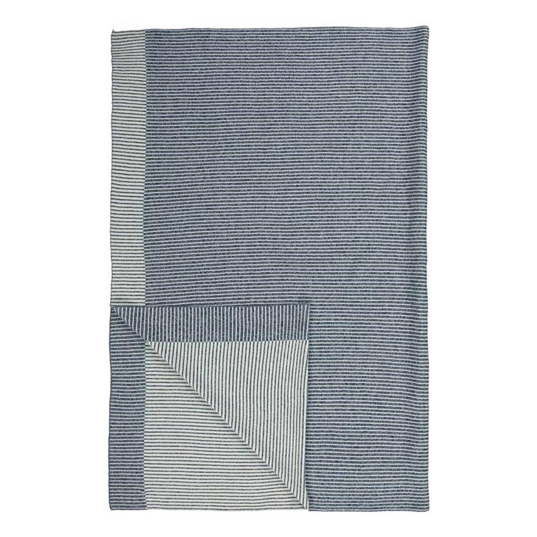 Marc O'Polo Ipala plaid - 70% katoen - 30% Wol - 130x170 cm - Blauw