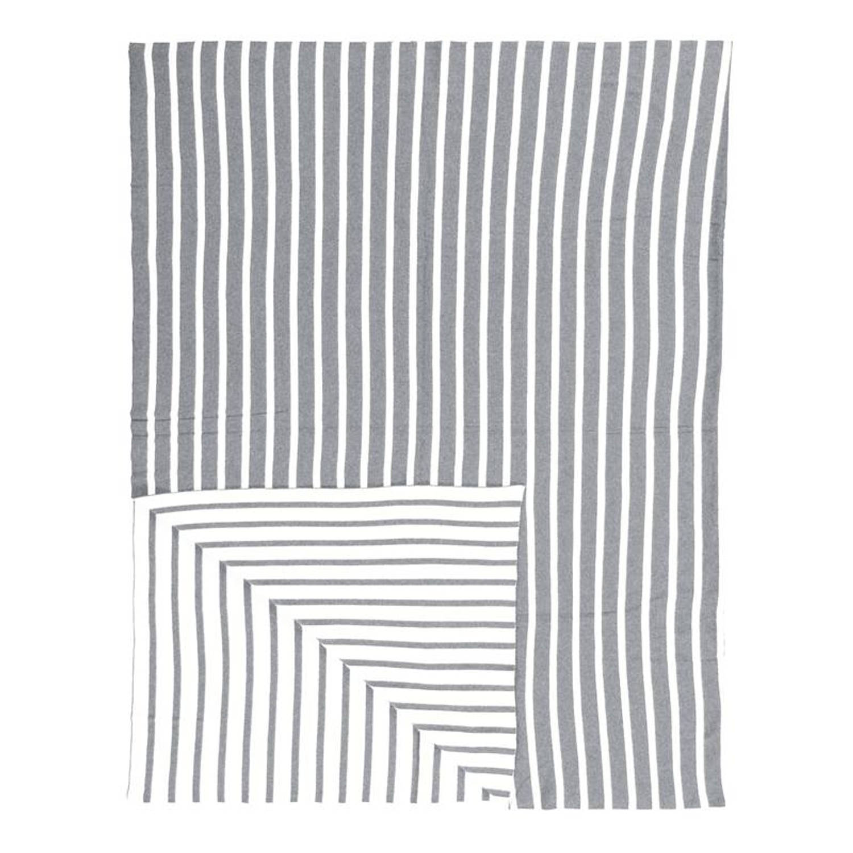 Marc O'Polo Arre plaid - 100% katoen - 130x170 cm - Grijs