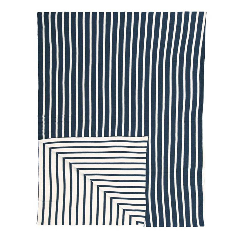 Marc O'Polo Arre plaid - 100% katoen - 130x170 cm - Blauw