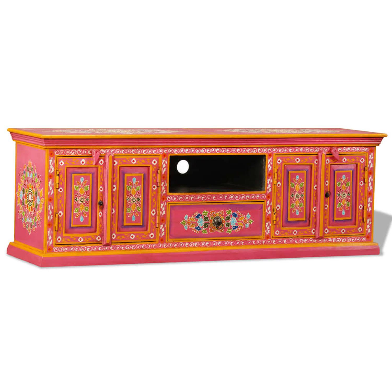 vidaXL Tv-meubel handgeschilderd massief mangohout roze