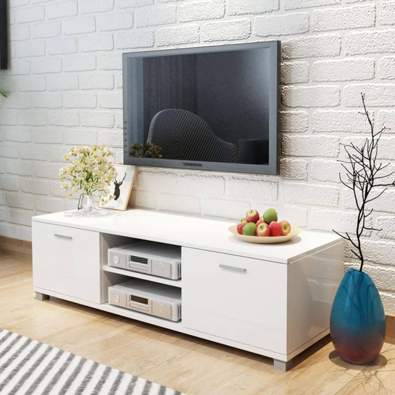 vidaXL Tv-meubel 140x40,3x34,7 cm hoogglans wit