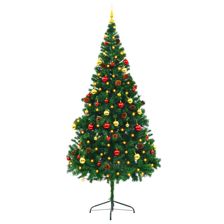 vidaXL Kunstkerstboom versierd met kerstballen en LED's 210 cm groen