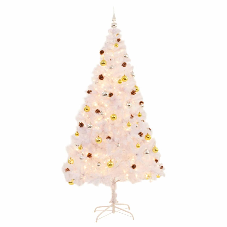 vidaXL Kunstkerstboom versierd met kerstballen en LED's 210 cm wit