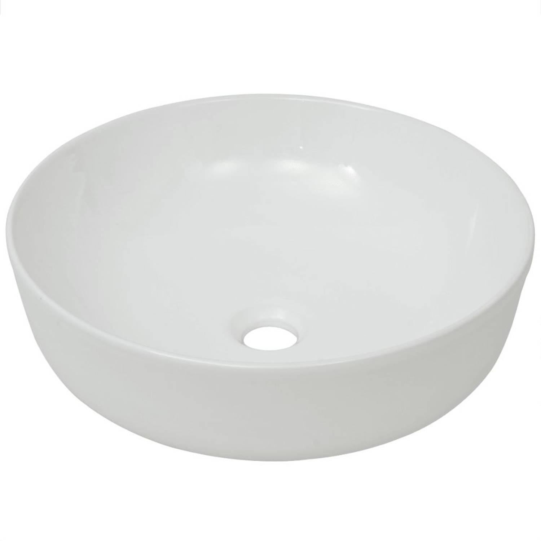 vidaXL Wastafel rond wit 41,5x13,5 cm keramiek