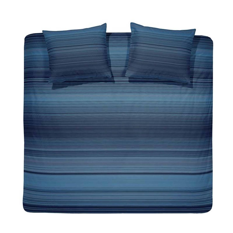 Damai Land dekbedovertrek - 100% katoen-satijn - Lits-jumeaux (240x200/220 cm + 2 slopen) - 2 stuks (60x70 cm) - Blauw