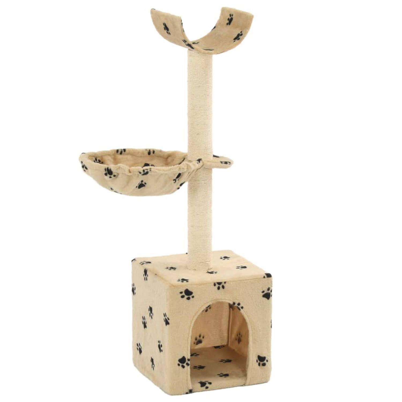 vidaXL Kattenkrabpaal met sisal krabpalen 105 cm pootafdrukken beige