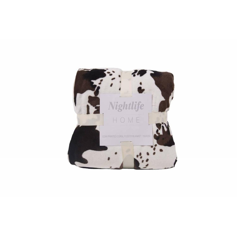 Nightlife Woondeken Koeienprint met Sherpa 150x200