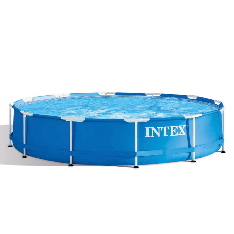 Intex zwembad metal frame 366x76 cm 28210np blokker for Zwembad intex