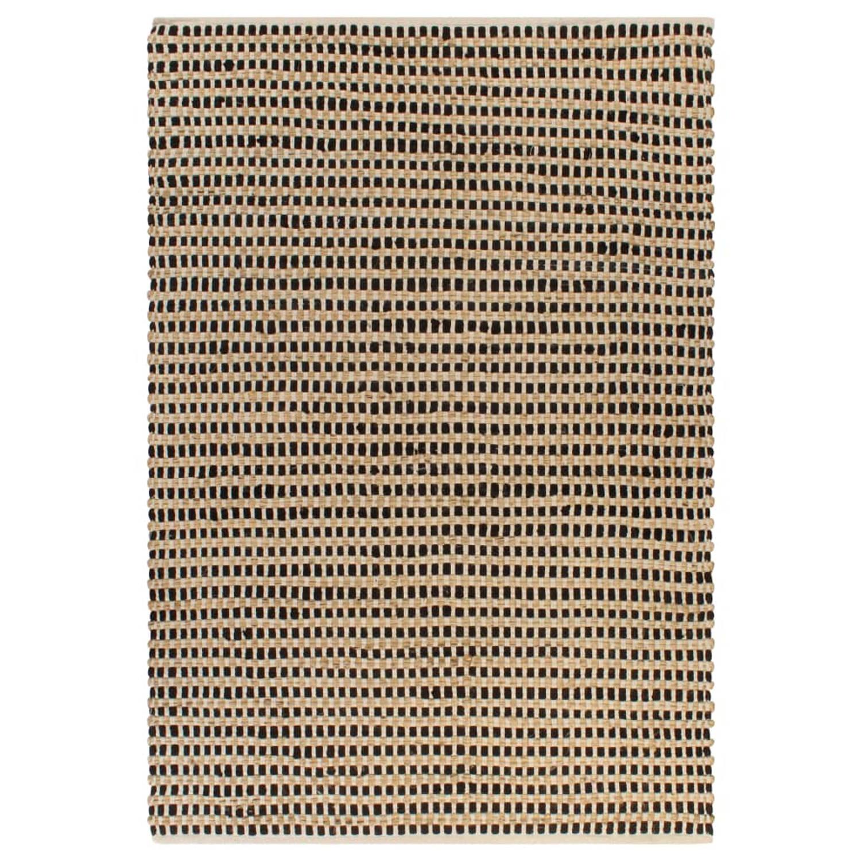 vidaXL Vloerkleed 160x230 cm handgeweven jute naturel en zwart