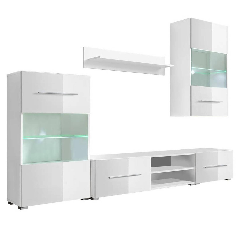 vidaXL Muurvitrine tv-meubel met LED-verlichting 5-delig wit