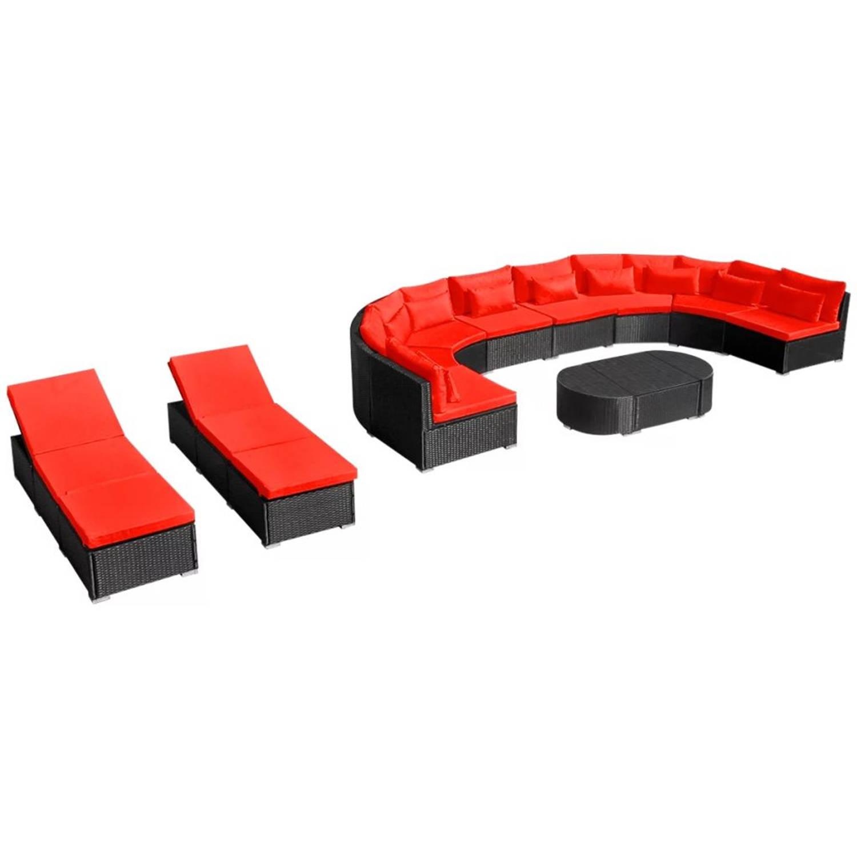 vidaXL Loungeset met ligbedden poly rattan rood