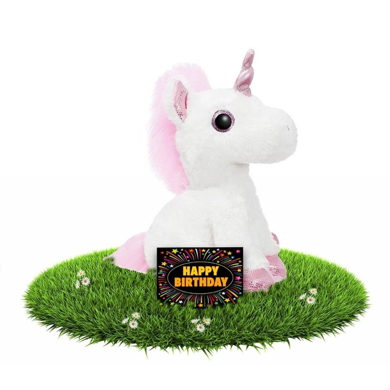 Verjaardag knuffel eenhoorn roze wit 30 cm incl. gratis verjaardagskaart