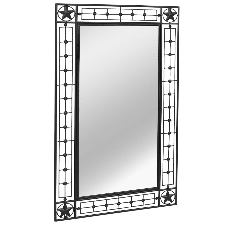 vidaXL Tuin wandspiegel rechthoekig 60x110 cm zwart