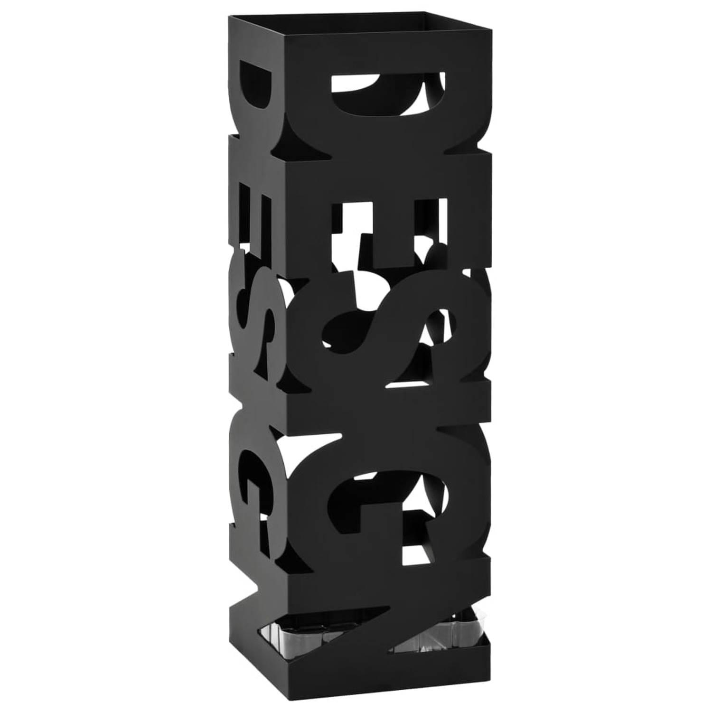 vidaXL Parapluhouder design staal zwart