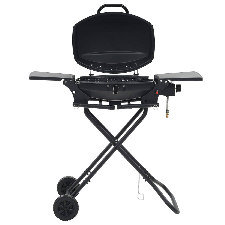 vidaXL Gasbarbecue met kookzone draagbaar zwart