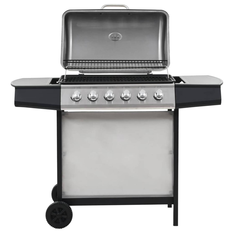 Vidaxl Gasbarbecue En Grill 6 Kookzones Roestvrij Staal Zilverkleurig