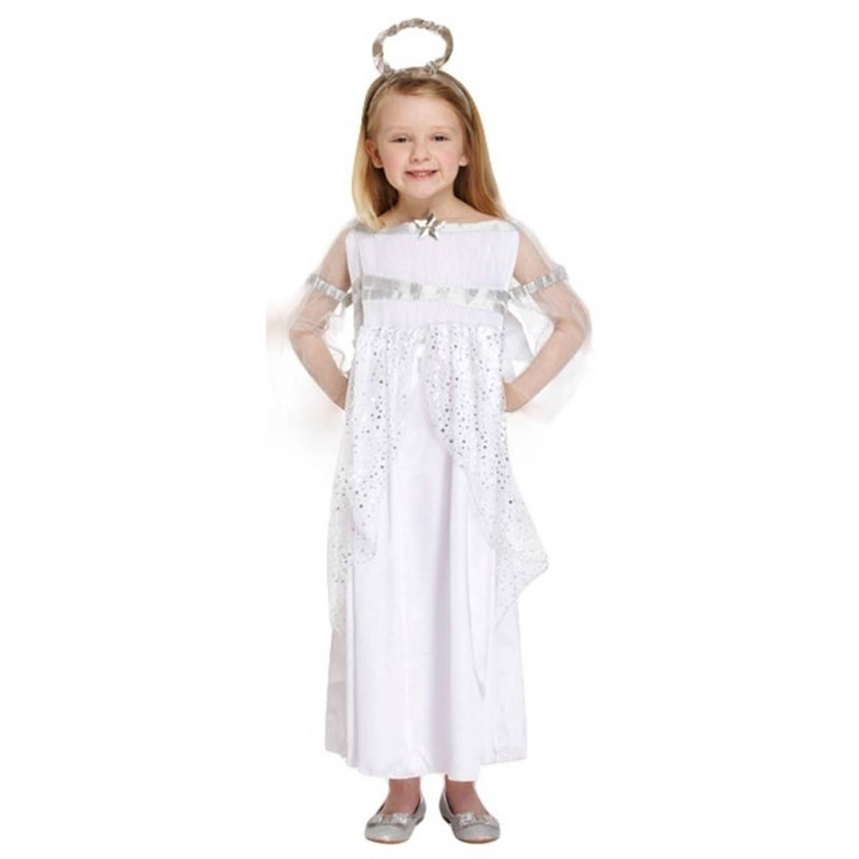 Engel kerst kostuum verkleedkleding wit voor meisjes 5-6 jaar (116-122)
