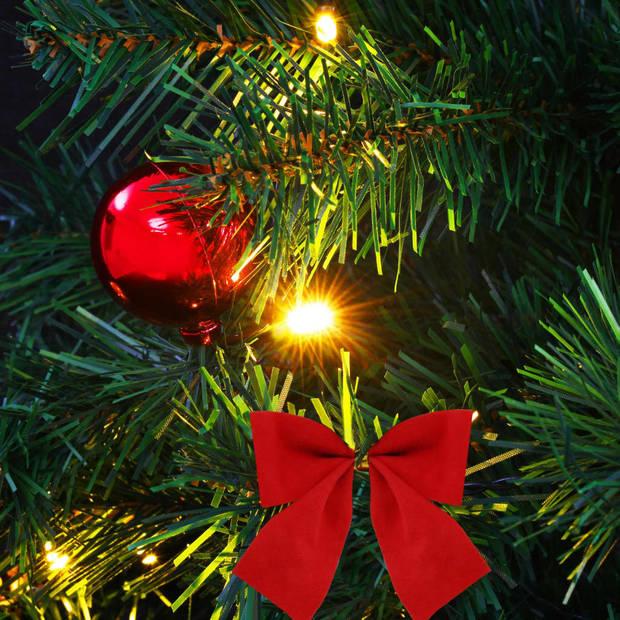 vidaXL Kunstkerstboom versierd met kerstballen en LED's 64 cm groen