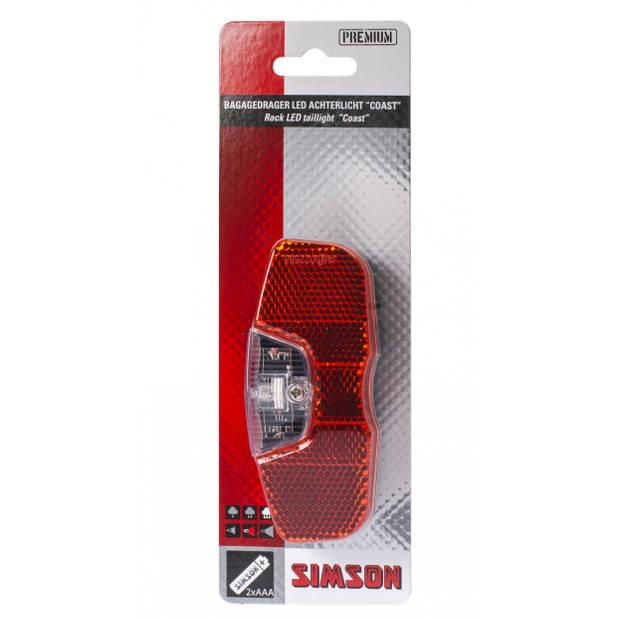 Simson achterlicht Coast led batterij bagagedrager rood