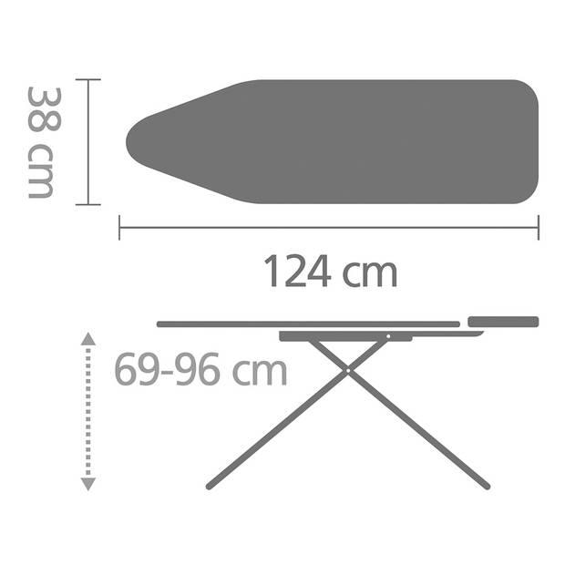Brabantia Tropical Leaves strijkplank B - met strijkijzerhouder - 124 x 38 cm