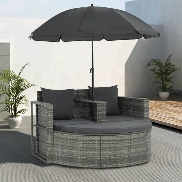 vidaXL Tuinbank tweezits met kussens en parasol poly rattan grijs
