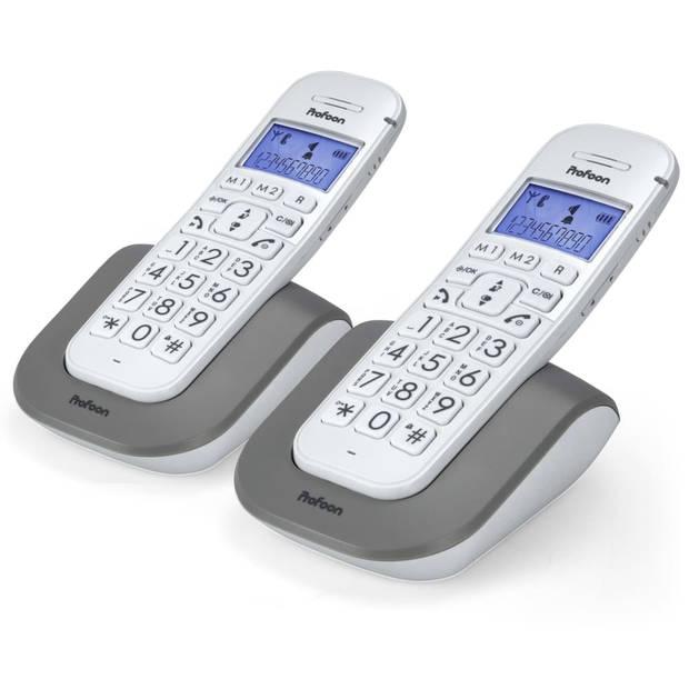 Profoon Telefoon met grote toetsen kunststof wit 2608 DUO