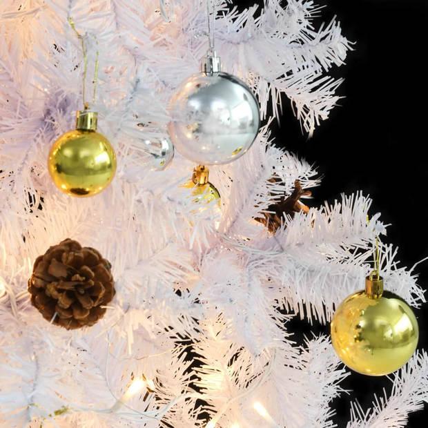 vidaXL Kunstkerstboom versierd met kerstballen en LED's 150 cm wit
